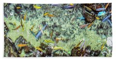 Electric Fish In The Pond Beach Towel