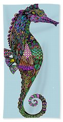 Beach Towel featuring the drawing Electric Lady Seahorse  by Tammy Wetzel