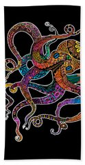 Electric Octopus On Black Beach Towel by Tammy Wetzel