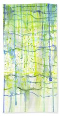 Electric Rain Watercolor Beach Towel by Kristen Fox