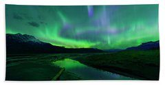 Beach Towel featuring the photograph Electric Skies Over Jasper National Park by Dan Jurak