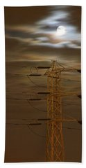 Electric Tower Under Supermoon Beach Towel