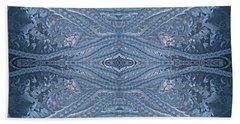 Elegant Blues Frosty Window Design Beach Towel by Joy Nichols
