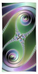 Beach Towel featuring the digital art Elegant Fractal Spirals Green Purple Blue by Matthias Hauser