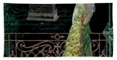 Elegant Peacock Iron Fence W Vintage Scrolls 4 Beach Sheet by Audrey Jeanne Roberts