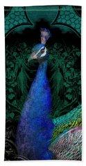 Elegant Peacock W Vintage Scrolls  Beach Towel
