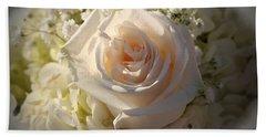 Elegant White Roses Beach Sheet by Cynthia Guinn