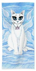 Beach Towel featuring the painting Elemental Air Fairy Cat by Carrie Hawks
