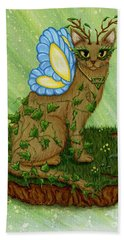 Beach Towel featuring the painting Elemental Earth Fairy Cat by Carrie Hawks