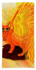 Elemental Fire Fairy Cat Beach Towel