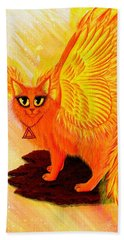 Beach Towel featuring the painting Elemental Fire Fairy Cat by Carrie Hawks