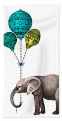 Elephant Holding Blue And Yellow Balloons Beach Towel