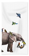 Elephant With Birds Illustration Beach Towel