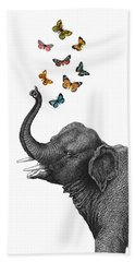 Elephant Blowing Butterflies From His Trunk Beach Towel