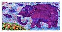 Elephant And Mice Beach Towel by Jane Tattersfield