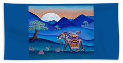 Elephant And Monkey Stroll Beach Towel
