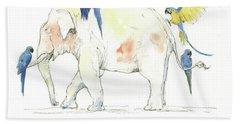 Elephant And Parrots Beach Towel