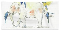Elephant And Parrots Beach Towel by Juan Bosco