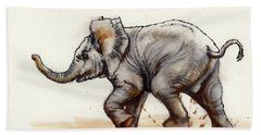 Beach Towel featuring the painting Elephant Baby At Play by Margaret Stockdale