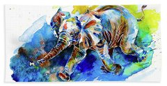 Beach Towel featuring the painting Elephant Calf Playing With Butterfly by Zaira Dzhaubaeva