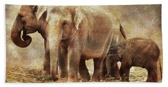 Elephant Family Beach Towel