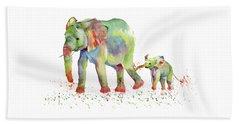 Elephant Family Watercolor  Beach Towel