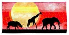 Elephant Giraffe Rhinoceros Beach Towel