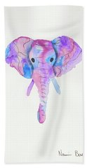 Elephant Head In Watercolour  Beach Sheet