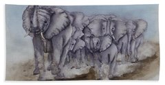 Elephant Herd Gallop Beach Towel