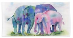 Elephant Hug Beach Towel by Amy Kirkpatrick