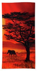 Elephant In A Bright Sunset Beach Towel