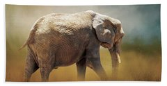 Beach Towel featuring the photograph Elephant In The Mist by David and Carol Kelly