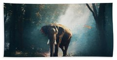 Elephant In The Mist - Painting Beach Towel