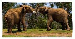 Elephant Play 3 Beach Sheet