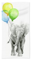 Elephant Watercolor Baby Animal Nursery Art Beach Towel