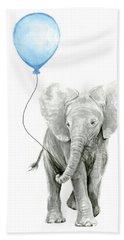 Elephant Watercolor Blue Nursery Art Beach Towel