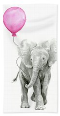 Baby Elephant Watercolor  Beach Towel