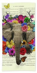 Elephant With Colorful Flowers Illustration Beach Towel
