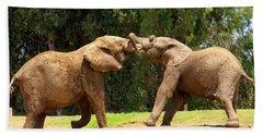 Elephants At Play 2 Beach Sheet