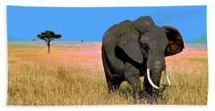 Beach Towel featuring the mixed media Elephants by Charles Shoup