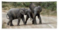 Elephants Childs Play Beach Towel