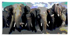 Beach Sheet featuring the mixed media Elephants On The Move by Charles Shoup
