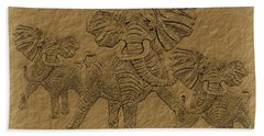 Elephants Three Beach Sheet
