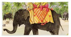 Elephants With Bananas Beach Towel