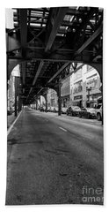 Elevated Train Track The Loop In Chicago, Il Beach Towel