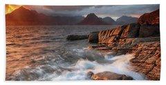 Elgol Stormy Sunset Beach Sheet by Grant Glendinning