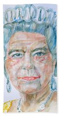 Beach Towel featuring the painting Elizabeth II - Watercolor Portrait.2 by Fabrizio Cassetta