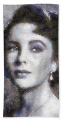 Elizabeth Taylor By Sarah Kirk Beach Towel