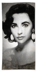 Elizabeth Taylor Drawing Beach Sheet by Quim Abella