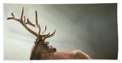 Beach Towel featuring the photograph Elk In Suns Rays by David and Carol Kelly